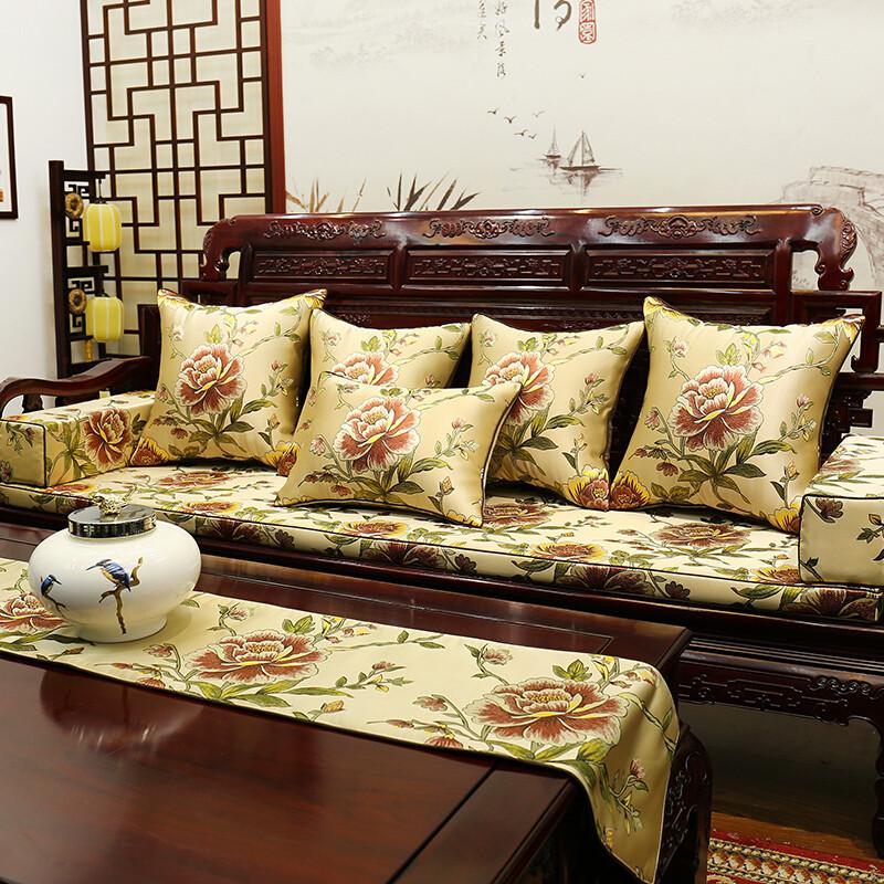 新中式花鸟红木沙发垫坐垫防滑罗汉床套实木圈椅座垫靠垫抱枕定做 40*图片