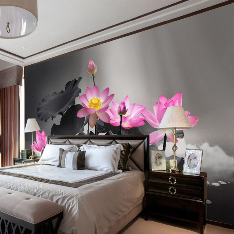 客厅电视背景墙壁画水墨荷花会议室壁纸书房墙纸意境墙布 美国透气