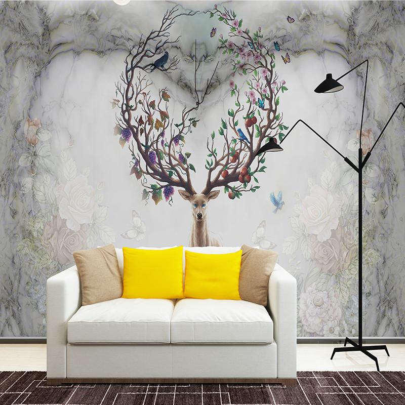 北欧复古麋鹿心形电视背景墙壁画简约现代客厅壁纸手绘卧室墙纸 5d
