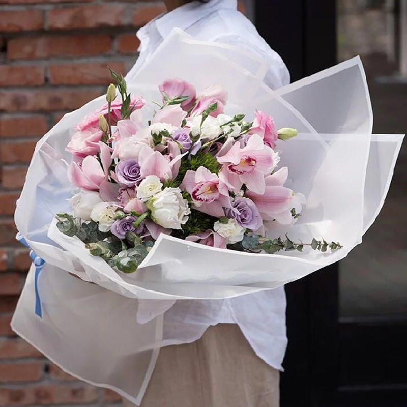 花束包装材料鲜花礼品花艺包装塑料纸魔边纸边框半透明雾面纸-粉红色