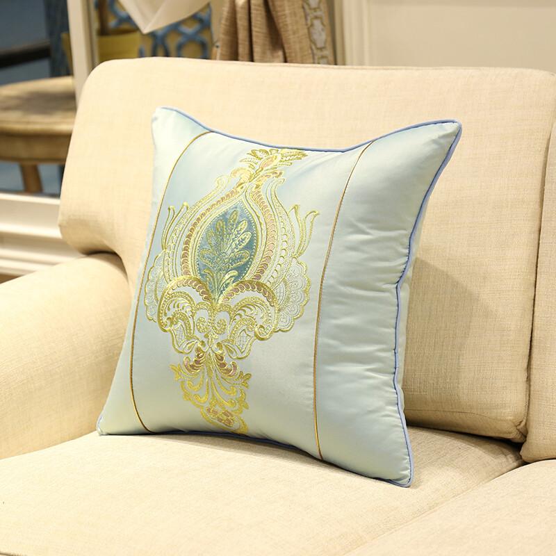 高档欧式绣花抱枕靠垫套中式床头靠背包沙发靠枕含芯大码定制浅蓝