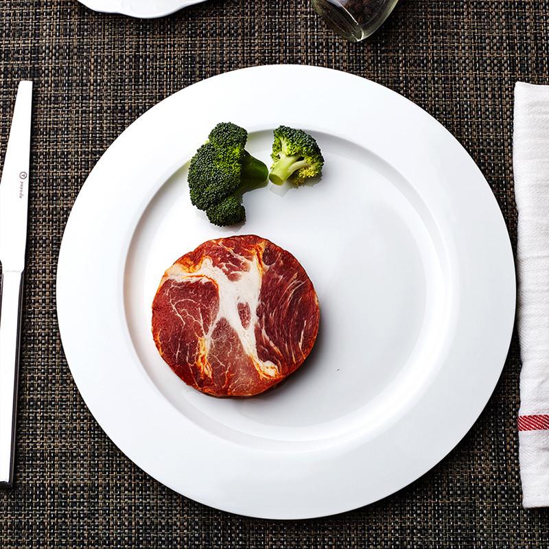 景德镇陶瓷骨瓷平盘西餐盘 圆形方形盘子凉菜盘摆盘 方平盘 10英寸