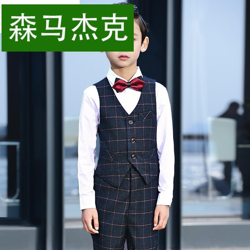 森马杰克儿童礼服男格子马甲套装男童婚礼钢琴演出服主持人礼服走秀表图片