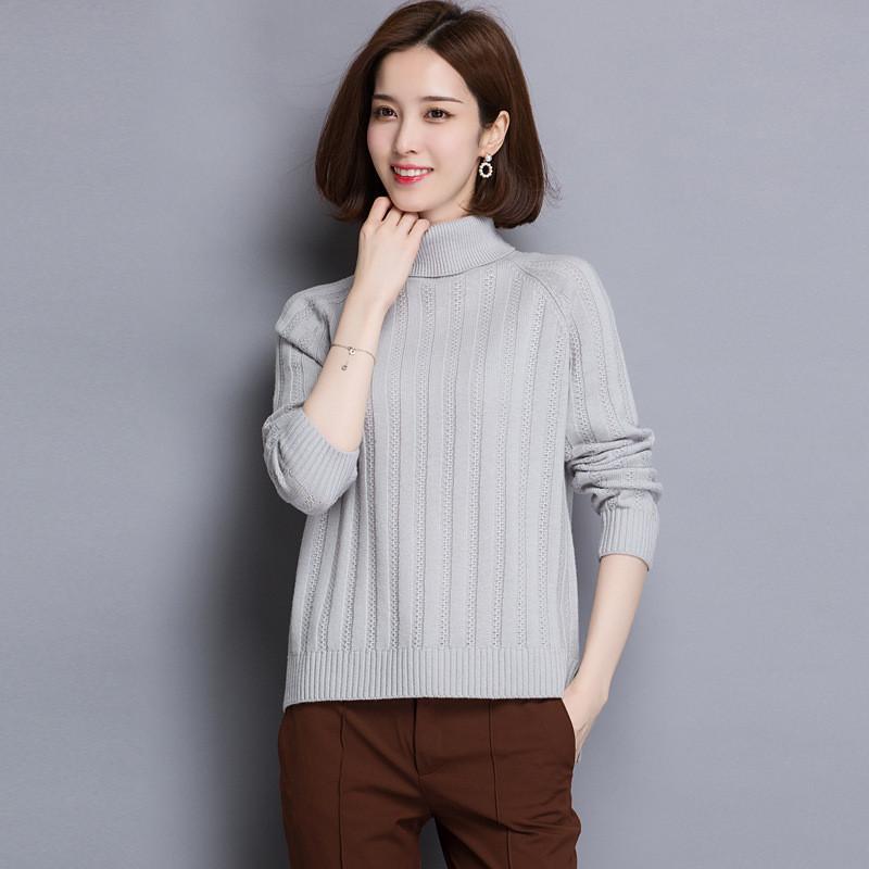 2017秋冬新款短款纯色长袖羊毛衫女装宽松高