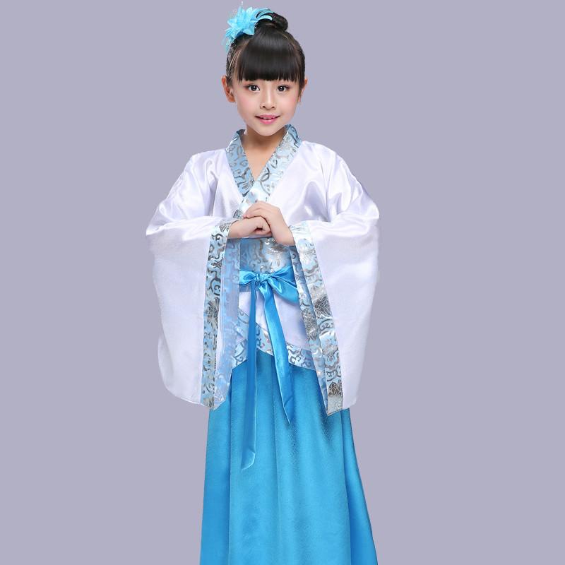 元旦儿童古装女童汉服弟子规服装演出服女童书童三字经国学衣服 140cm