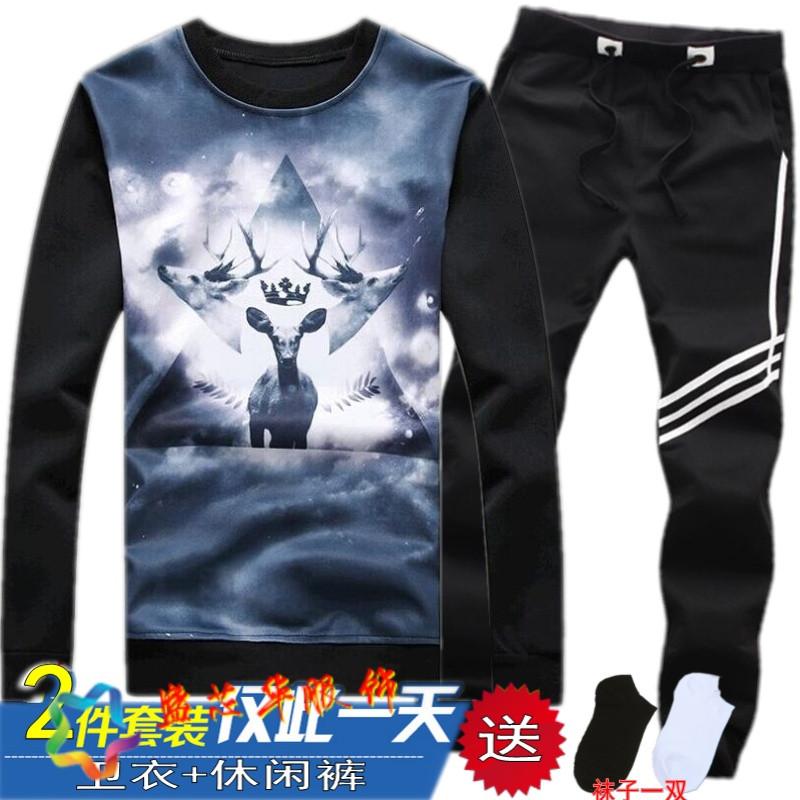 男韩版男学生班服跑步衣服两件套便宜 m(95-105斤) 双头鹿卫衣 斜三杆