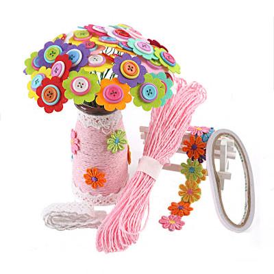 纽扣花束幼儿园宝宝手工diy制作材料包扣子画感恩节送老师礼物 儿童