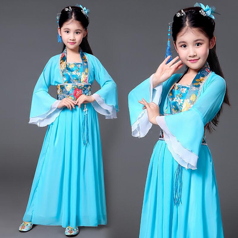 儿童古装小七仙女公主裙古筝表演服古代唐装汉服贵妃服小女孩古装_12