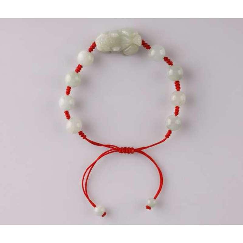 悦人天然a货翡翠编绳貔貅手链(红绳)