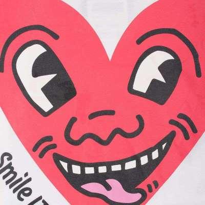 艾夫斯女装可爱卡通心脸印花短袖t恤21122121135(白色