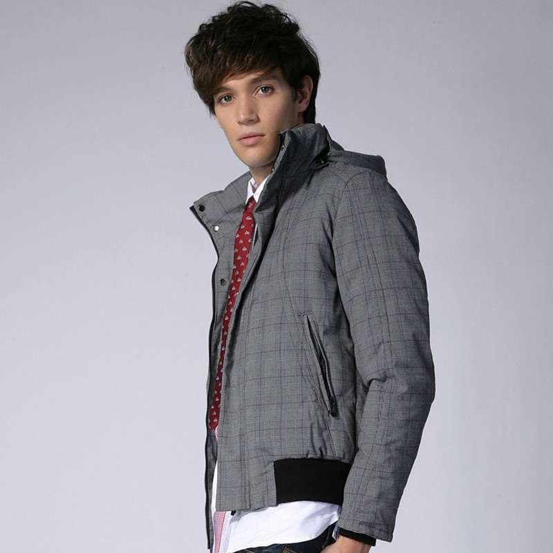 男士时尚带帽格纹棉服#03607370