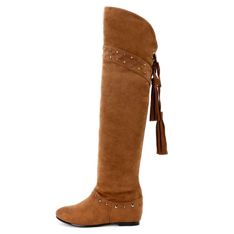 女流穗铆钉性感内增高过膝靴高筒靴w14058棕色39码
