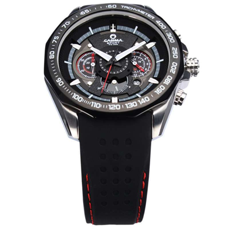 表带材质 硅胶 表扣样式 针扣 款式 男表 表盘构造 三眼,赛车元素