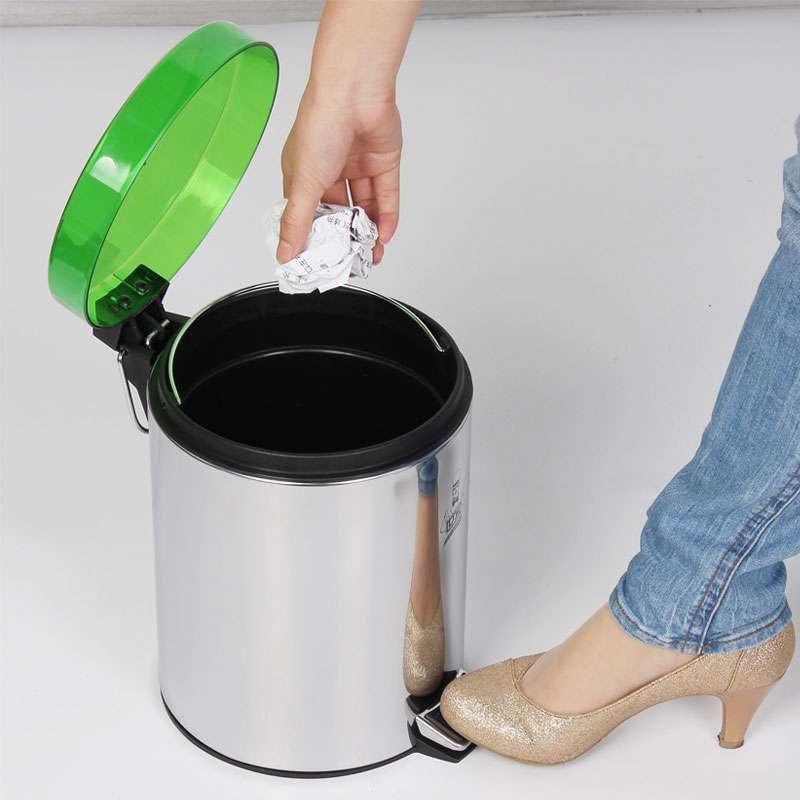 世家透明盖脚踏式垃圾桶5l