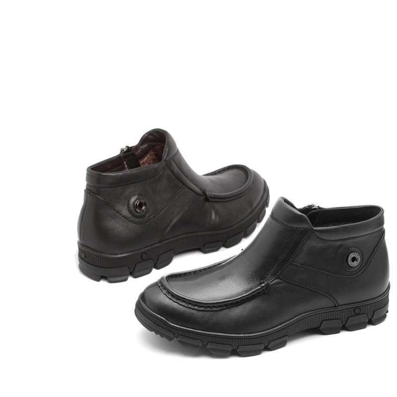 Senda 森达冬季黑色软牛皮男棉鞋2MI53R黑色