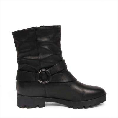 tata/他她2012年冬季黑色小牛皮女皮靴2sv61d黑色39