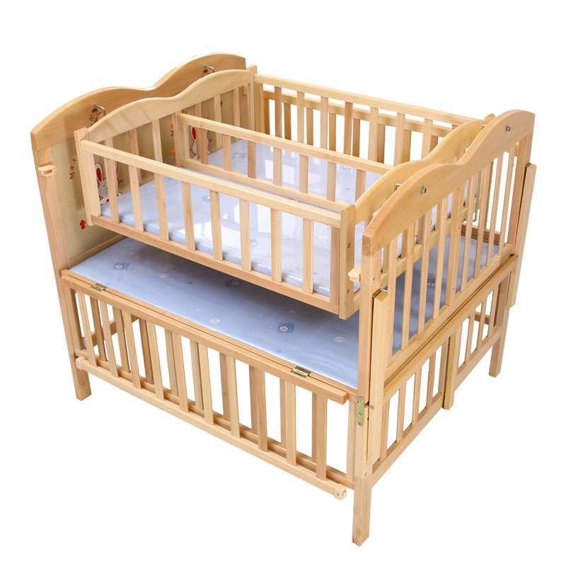 小硕士双胞胎婴儿床实木儿童床游戏床送摇床蚊帐sk