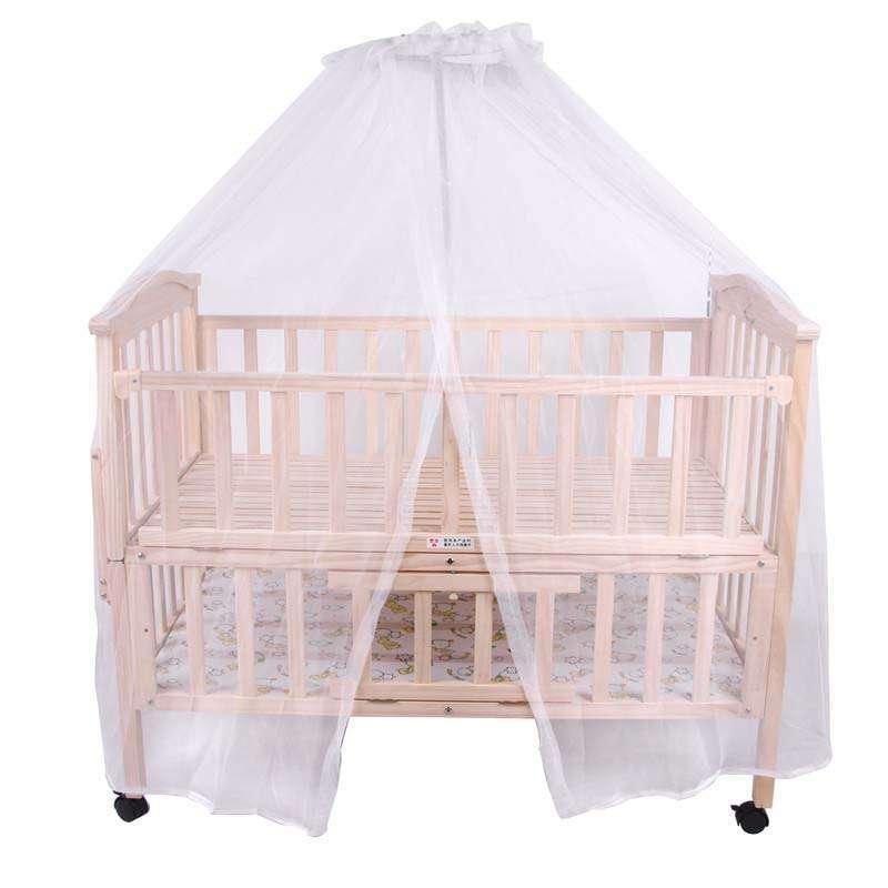 康贝儿实木环保无漆豪华婴儿床送蚊帐床板三档调节带储物层可加长可侧