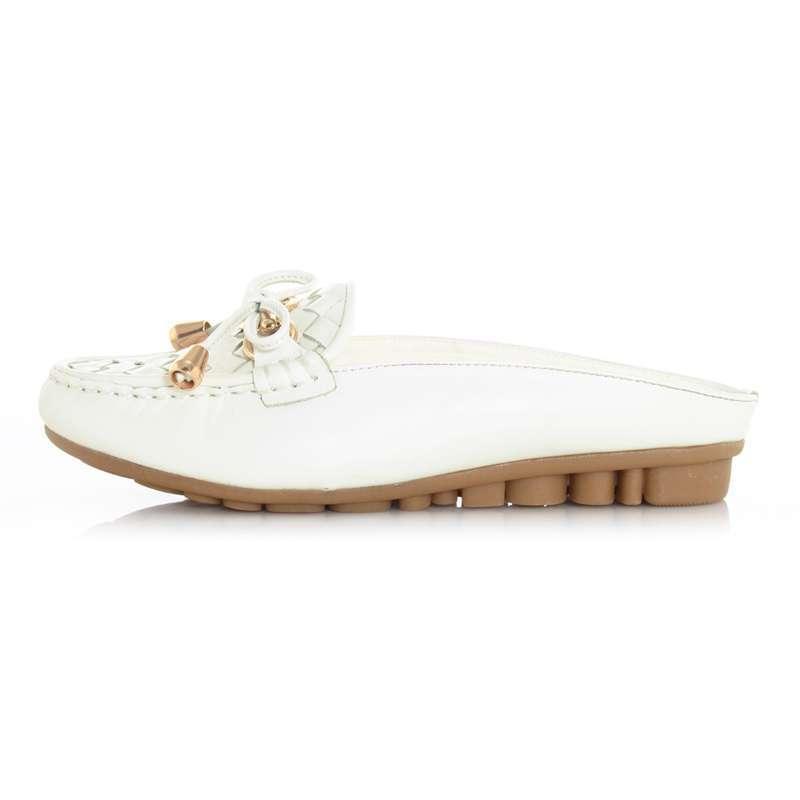 皮尔世绅菱形面小蝴蝶结装饰头层牛皮豆豆底拖鞋a330050白色37码