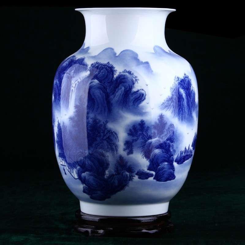 手绘陶瓷青花瓷花瓶 家居客厅装饰品摆设件 wy 3626