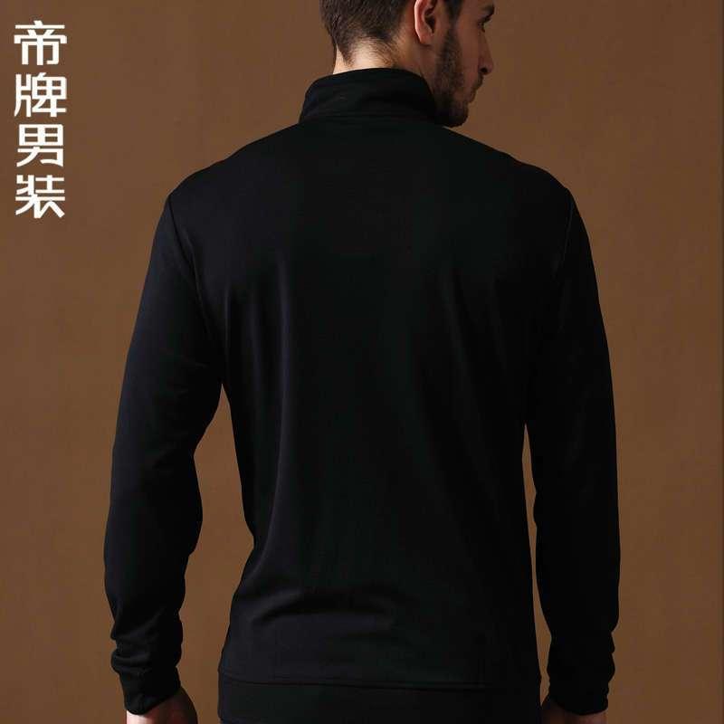 休闲男t恤衫立领修身拼接斜线花纹t恤613516