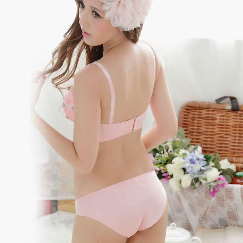 杉杉 女士天使白甜美粉时尚可爱内衣套装l12023 甜美粉 80b