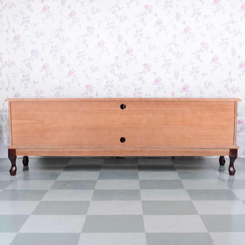 理佳木业白色简约欧式实木电视柜/简易矮柜地柜/客厅柜收纳储物柜tv-s