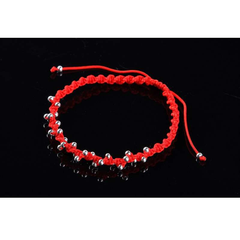 手工编织银珠手链-红绳(满天星)