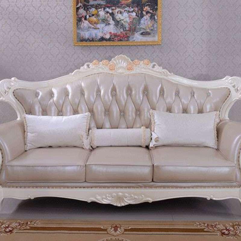 锄禾 欧式新古典客厅布艺沙发组合家具 实木雕花三人sf8009