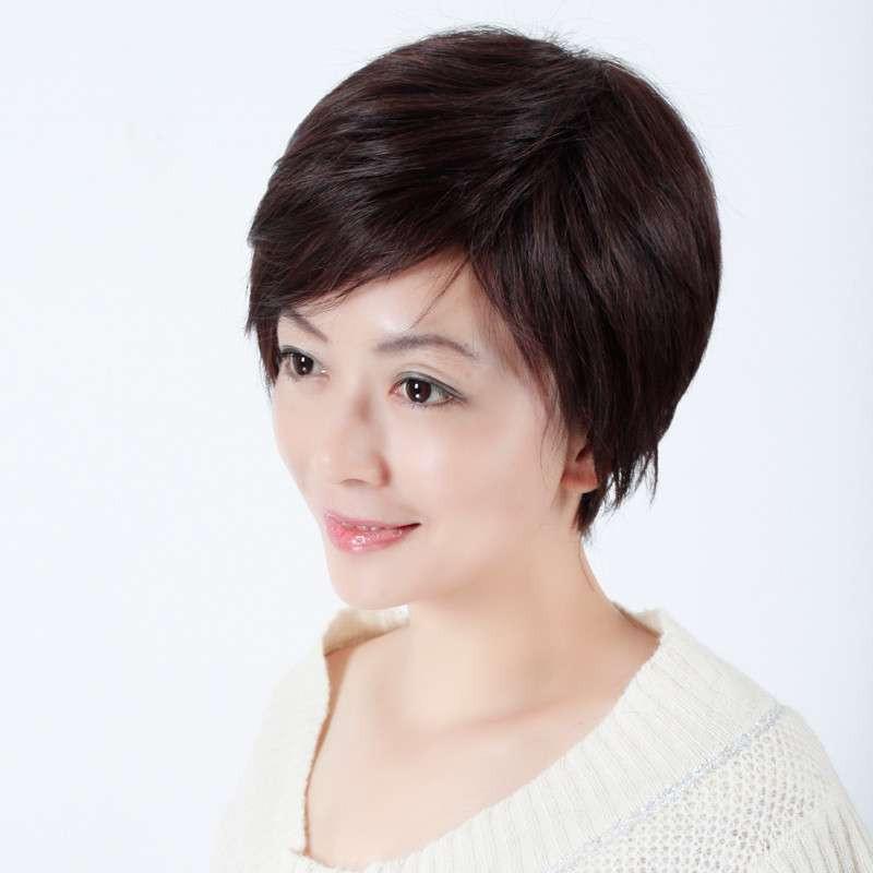 新款 玫瑰雨 时尚妈妈青中年女士假发套 假发短发女直发 女生假发图片