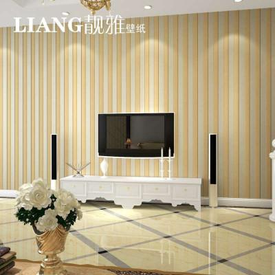 墙纸竖条 简约现代壁纸条纹 客厅卧室电视背景墙墙纸植绒天鹅绒
