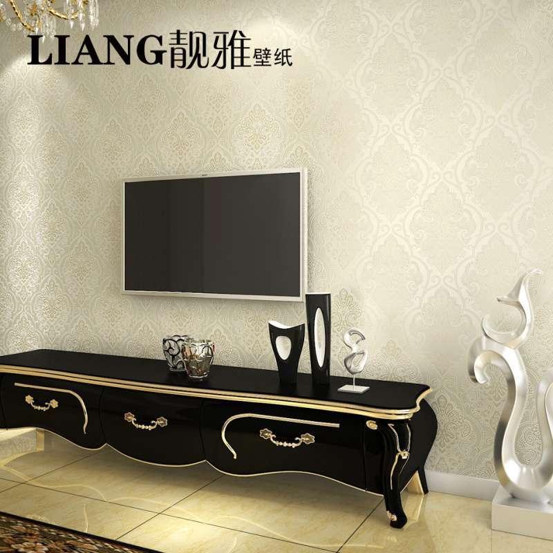 靓雅电视背景墙纸 壁纸欧式简约客厅卧室温馨纯色无纺布壁纸特价