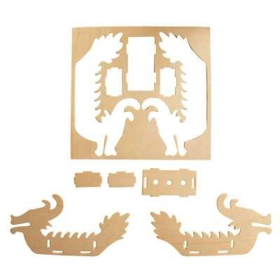 传统赛龙舟diy手工材料包 木制龙船模型 3d益智玩具 端午节礼品-苏宁