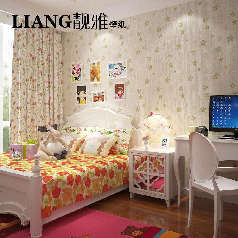 【】靓雅壁纸 田园风格墙纸壁纸女孩卧室儿童房卧室