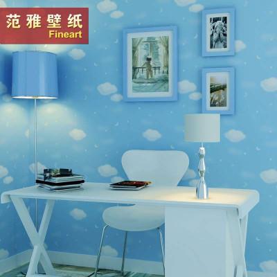 范雅壁纸纯纸壁纸卧室背景墙可爱卡通蓝天白云儿童房
