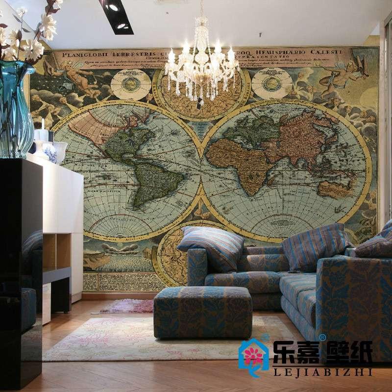 乐嘉大型壁画 欧式复古世界地图