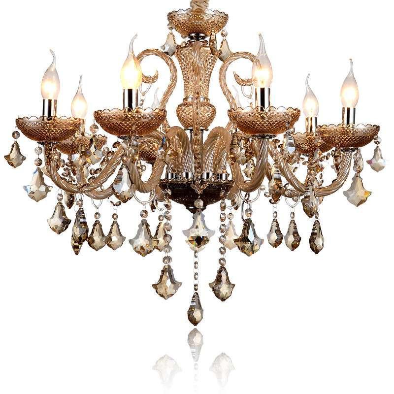 蒙特丽欧式水晶吊灯 琥珀色客厅灯卧室餐厅灯具6614 8头