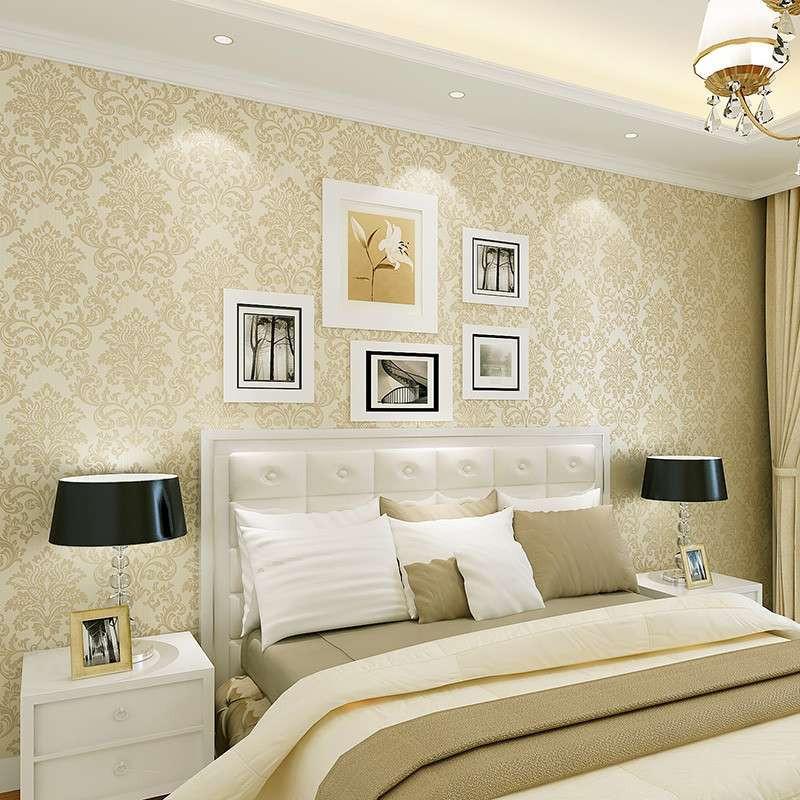 纸尚美学米白黄色墙纸 欧式客厅无纺布壁纸 圆网工艺卧室背景