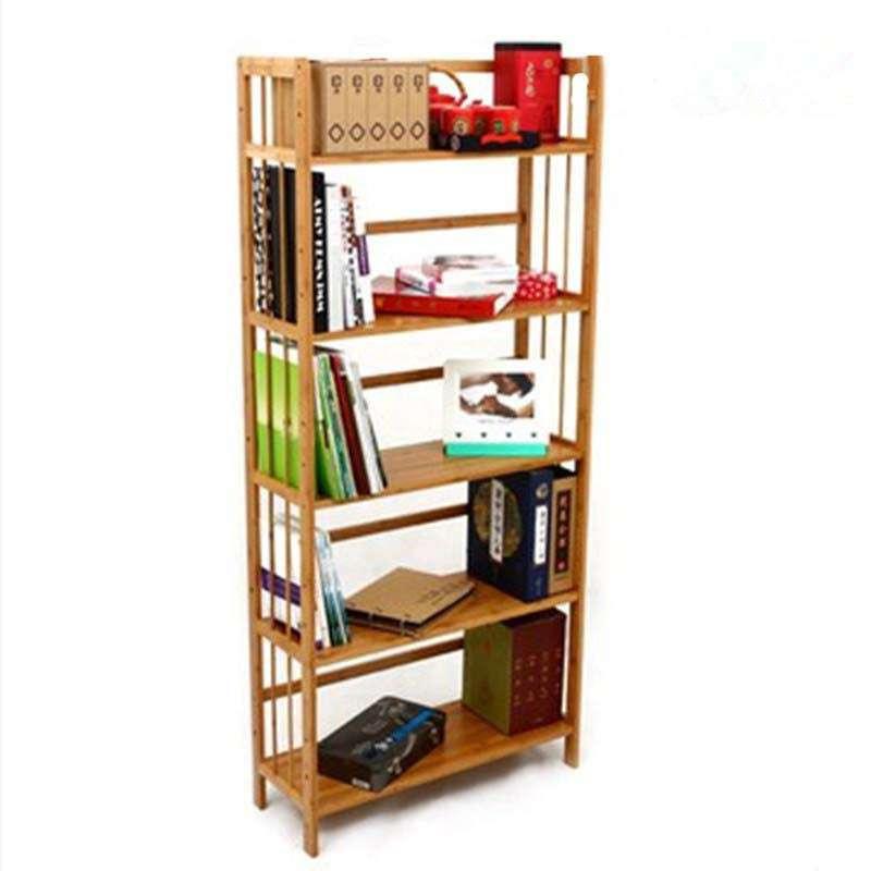 生美 加厚楠竹书架实心板儿童书架简易书柜置物架宜家层板可调 五层