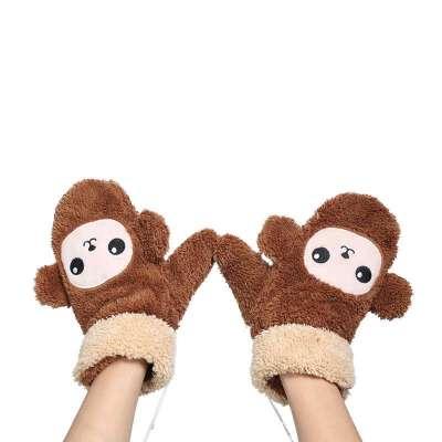 依吉饰 可爱卡通小猴子手套 秋冬季女士毛绒连指手套