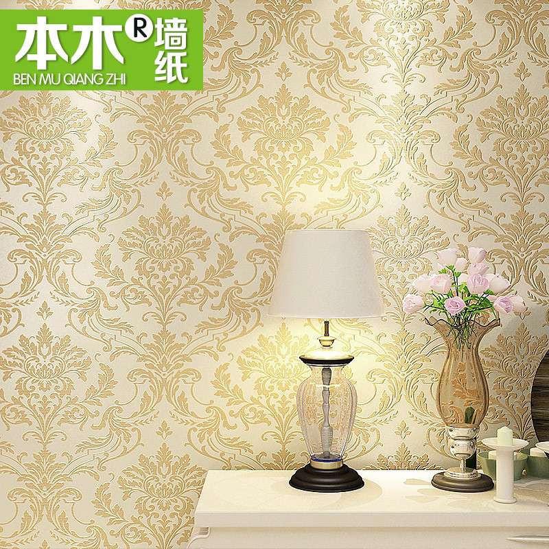 【本木家居】本木欧式大气客厅背景墙电视大花墙纸满