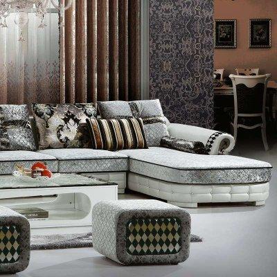 欧式宫廷风格皮布组合沙发图片