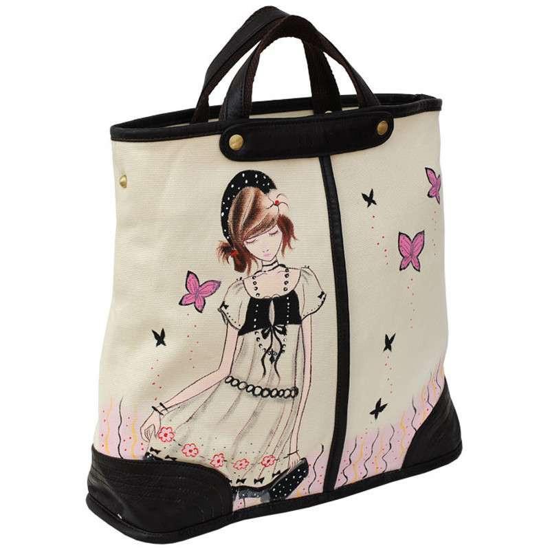 城市公主个性创意手绘韩国插画卡通女孩实用帆布斜挎包手提包f-g010