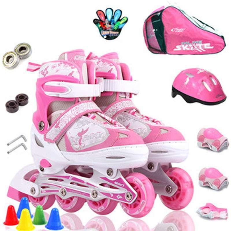 卡弗莱 单闪 儿童 可调伸缩直排 轮滑鞋溜冰鞋旱冰鞋全套装 粉红色 s