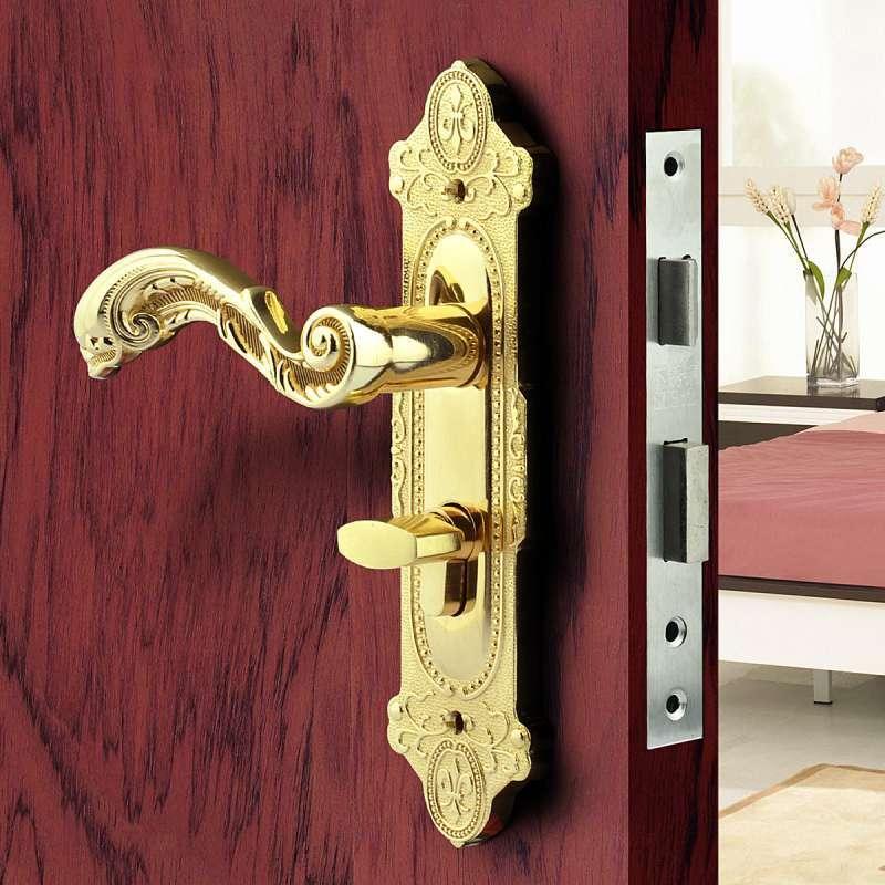 美标五金室内防盗门锁卧室门锁机械门锁欧式古典金