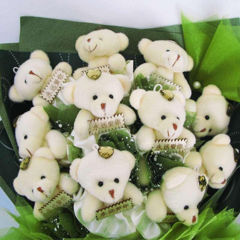 尚品花艺 卡通花束11熊绿色扇形