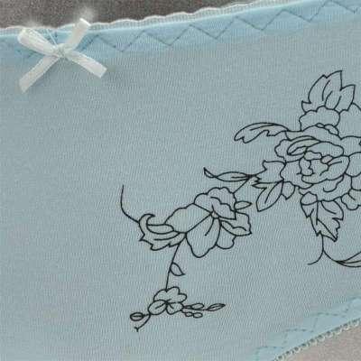 浪莎女士内裤 莫代尔抗菌舒适性感可爱蕾丝边无痕式女士三角内裤 天蓝