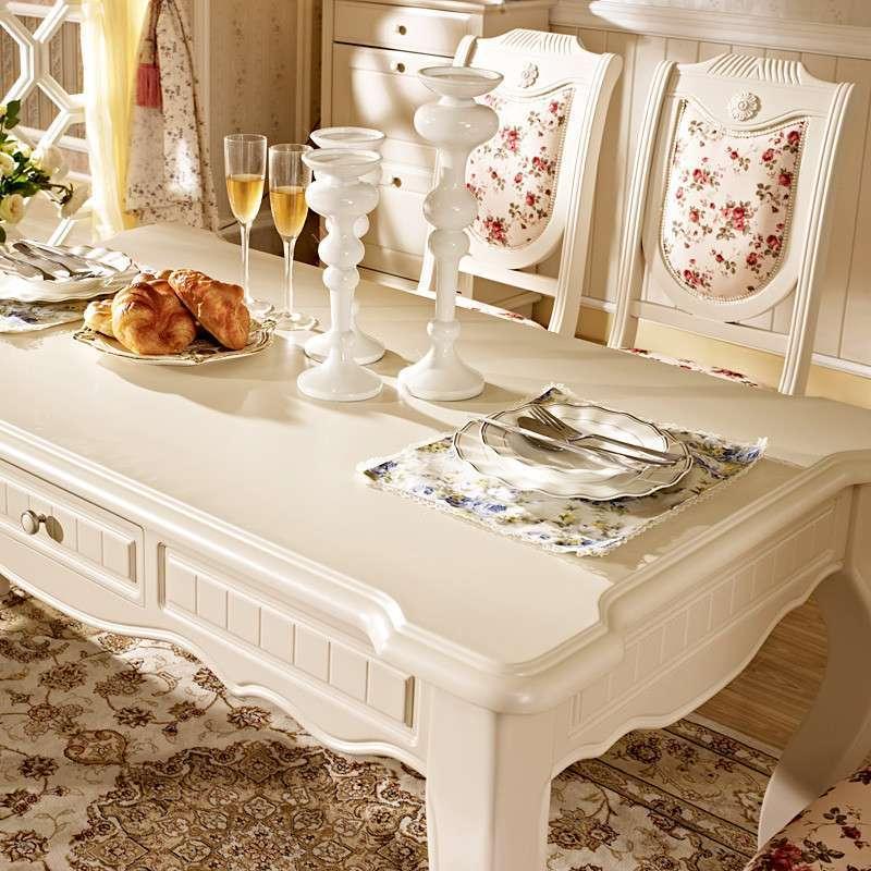 德邦尚品 实木现代简约白色欧式宜家田园条形餐桌餐台 sn(9k38#) 哑光