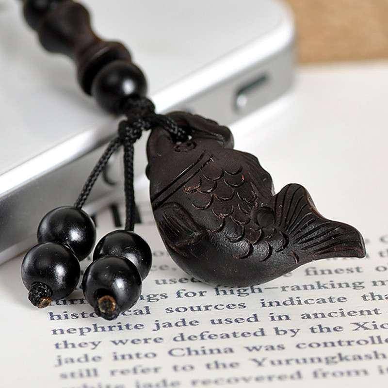多吉米 乌木 手工木雕 如意鱼 手机链饰品 送防尘塞