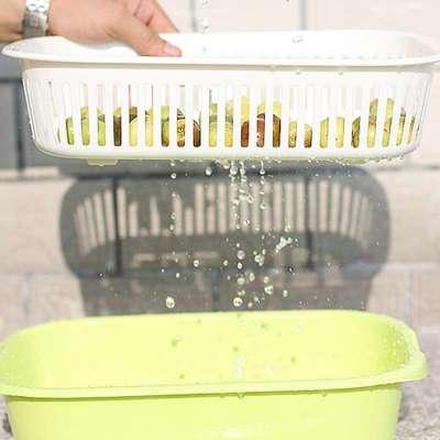 贸号双层塑料篮厨房架沥水沥水碗筷滴水篮二金玫瑰花镀金图片